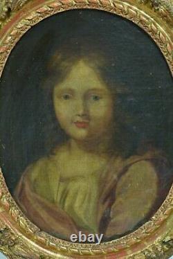 Tableau ancien portrait d'enfant Baroque Louis XIII cadre bois doré Baroque 17e