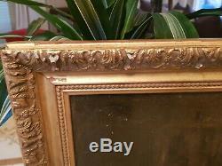Tableau ancien sur bois, scène d'intérieur, cadre doré