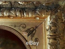 Tableau huile / bois portrait fillette E. KOCH 1899 XIXème cadre bois stuc doré