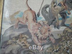 Tapisserie Representant La Chasse Au Lion Fin 18 Eme Siecle Cadre Bois Dore