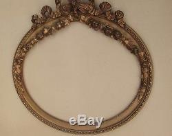 Très beau grand cadre ovale ancien fin XIXe siècle