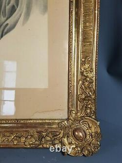 Très grand beau cadre XVIIIe s. Bois et stuc doré 95x73 feuillure 70,5x57,5 cm