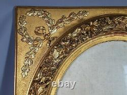 Très grand cadre ancien vue ovale bois & stuc doré 82x71cm feuillure 61x51 cm