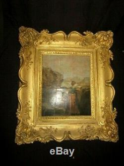 XIX Hsc Ecole Italienne Cadre Bois Dore Femme Cruche Antique French Painting