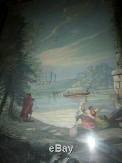 XVIII Grande Gouache Ruine Et Personnage Cadre Bois Dore Antique Painting